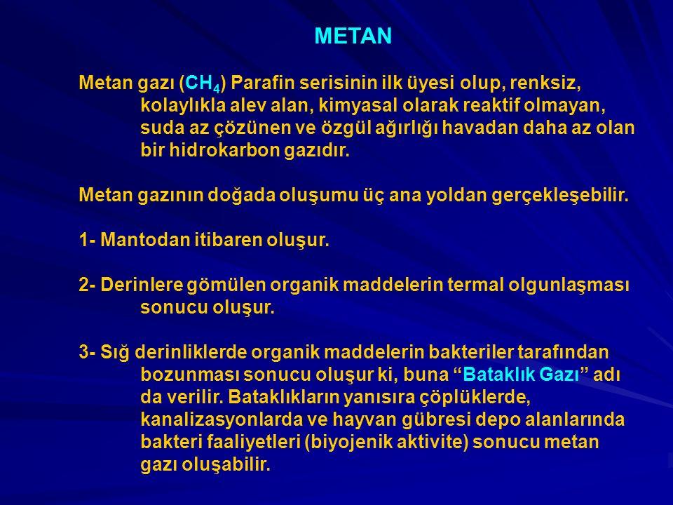 METAN Metan gazı (CH 4 ) Parafin serisinin ilk üyesi olup, renksiz, kolaylıkla alev alan, kimyasal olarak reaktif olmayan, suda az çözünen ve özgül ağırlığı havadan daha az olan bir hidrokarbon gazıdır.