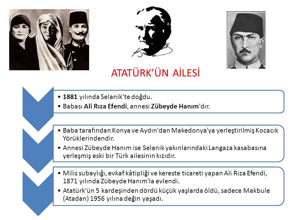 ATATÜRK'ÜN AİLESİ 1881 yılında Selanik'te doğdu. Babası Ali Rıza Efendi, annesi Zübeyde Hanım'dır. Baba tarafından Konya ve Aydın'dan Makedonya'ya yer