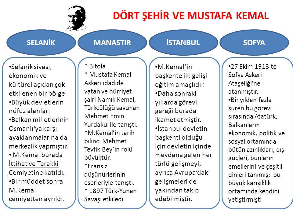 DÖRT ŞEHİR VE MUSTAFA KEMAL SELANİKMANASTIRİSTANBULSOFYA Selanik siyasi, ekonomik ve kültürel açıdan çok etkilenen bir bölge Büyük devletlerin nüfuz alanları Balkan milletlerinin Osmanlı ya karşı ayaklanmalarına da merkezlik yapmıştır.