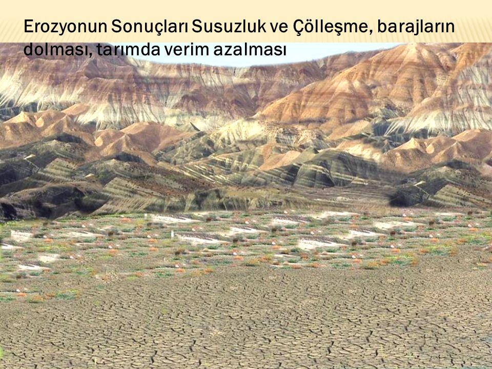 Erozyonun Sonuçları Susuzluk ve Çölleşme, barajların dolması, tarımda verim azalması