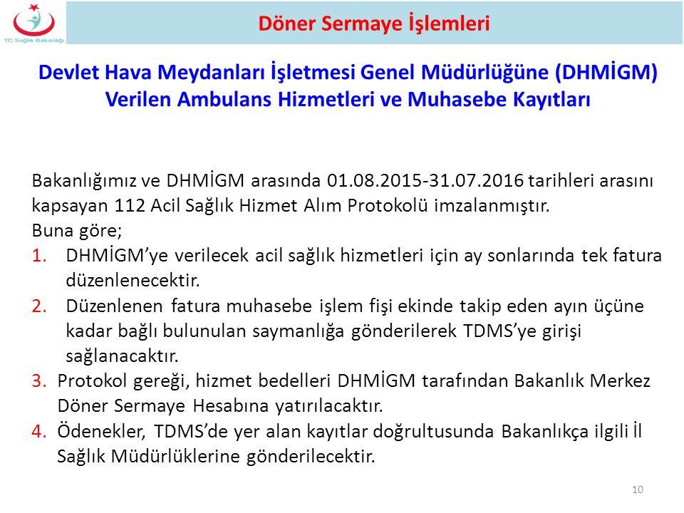 Bakanlığımız ve DHMİGM arasında 01.08.2015-31.07.2016 tarihleri arasını kapsayan 112 Acil Sağlık Hizmet Alım Protokolü imzalanmıştır. Buna göre; 1.DHM