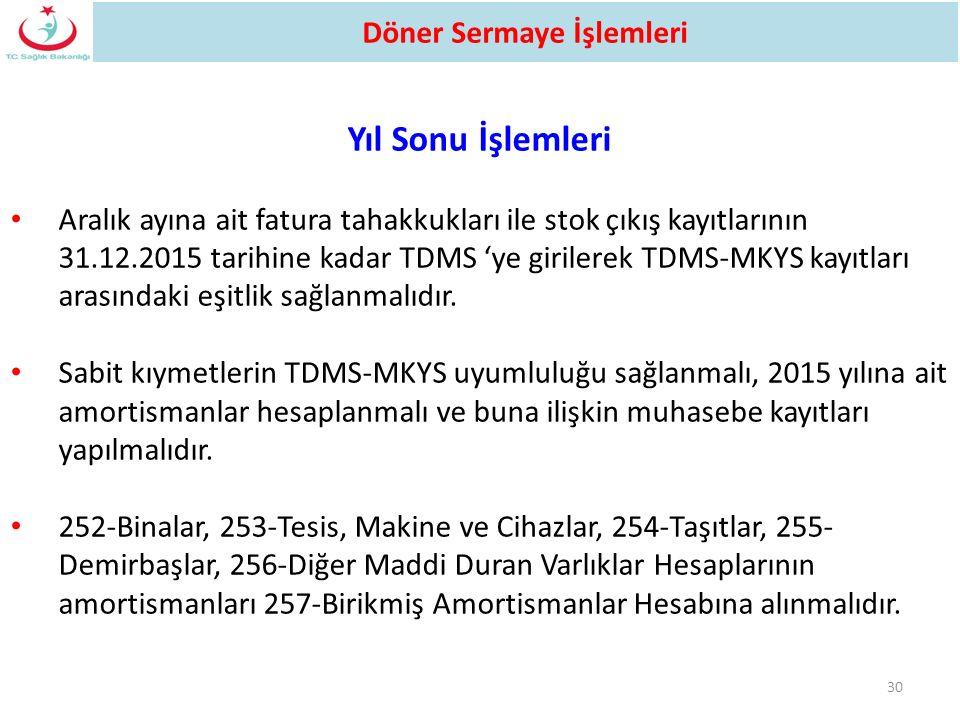 30 Yıl Sonu İşlemleri Aralık ayına ait fatura tahakkukları ile stok çıkış kayıtlarının 31.12.2015 tarihine kadar TDMS 'ye girilerek TDMS-MKYS kayıtlar