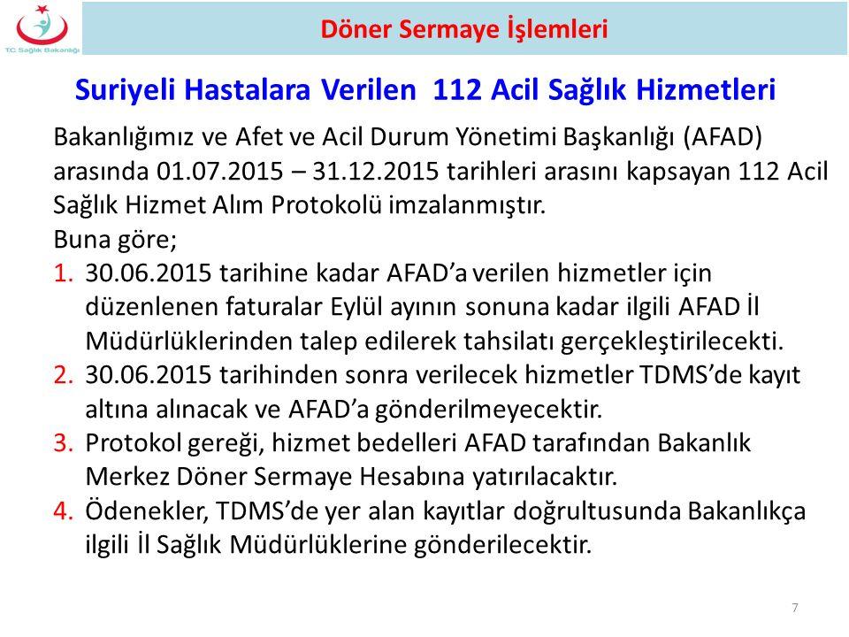 Suriyeli Hastalara Verilen 112 Acil Sağlık Hizmetleri 7 Bakanlığımız ve Afet ve Acil Durum Yönetimi Başkanlığı (AFAD) arasında 01.07.2015 – 31.12.2015