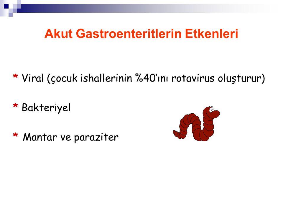 Akut Gastroenteritlerin Özellikleri 1. Toplumda geniş kitlelerin sağlığına zarar verirler ve hızla yayılırlar 2. Tanı konulunca tedavi edilebilirler 3