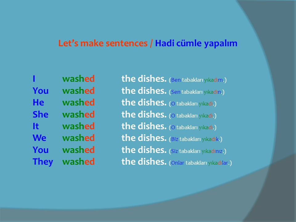 Let's make sentences with IRREGULAR VERBS Hadi DÜZENSİZ FİİLLERLE cümle yapalım Iwrote a letter.