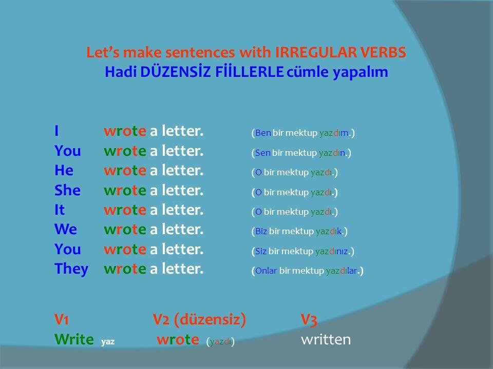 Let's make sentences with IRREGULAR VERBS Hadi DÜZENSİZ FİİLLERLE cümle yapalım V1V2V3 Do yapdid (yaptı)done Idid the washing up.