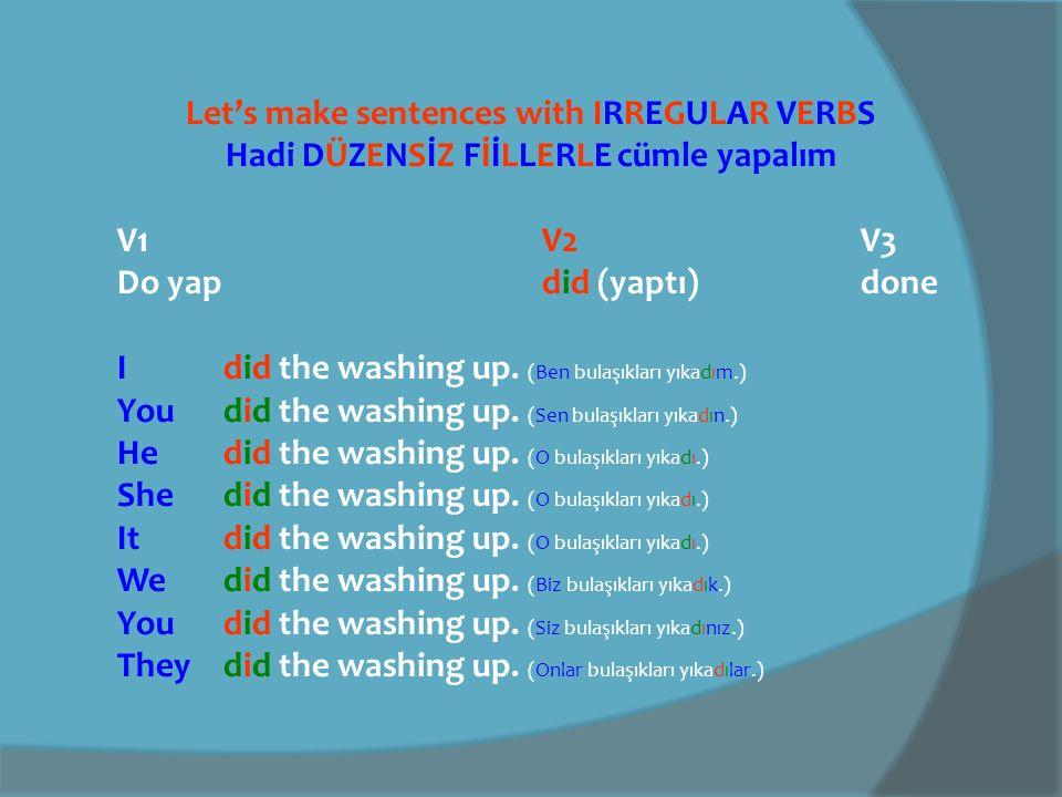 Let's make sentences with IRREGULAR VERBS Hadi DÜZENSİZ FİİLLERLE cümle yapalım V1 V2V3 Make yap made yaptı made I made a mistake.