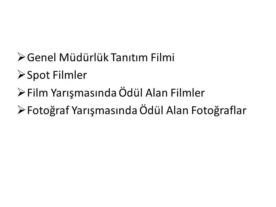  Genel Müdürlük Tanıtım Filmi  Spot Filmler  Film Yarışmasında Ödül Alan Filmler  Fotoğraf Yarışmasında Ödül Alan Fotoğraflar