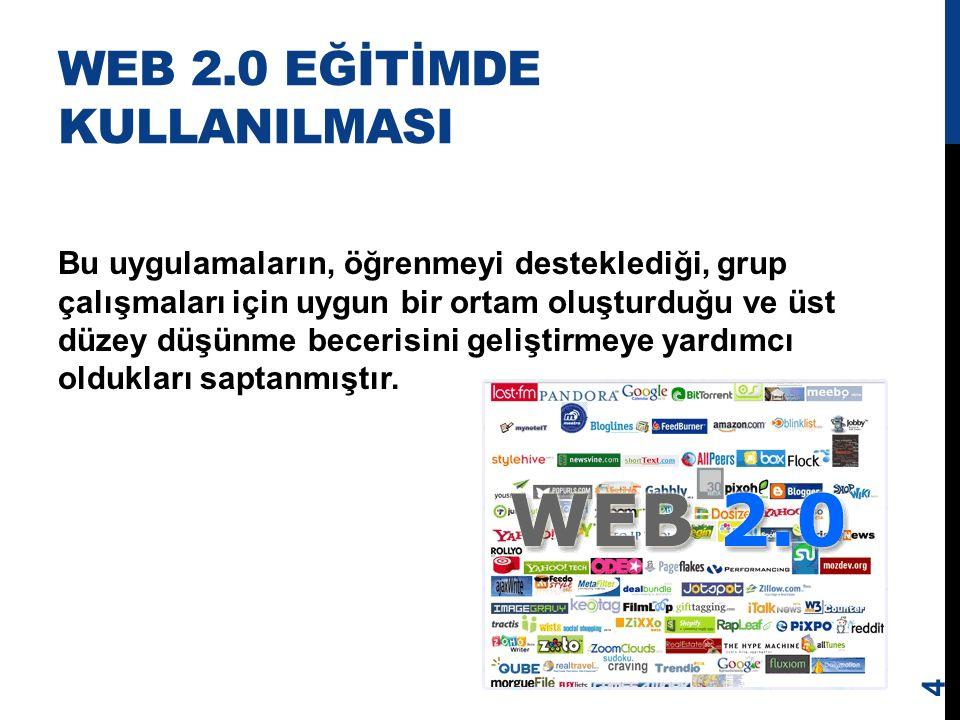 WEB 2.0 Web 2.0 teknolojileri kullanıcılara bir topluma içerik ve fikir sunmayı amaç edinen ortamlara katkıda bulunmayı kolaylaştırır.