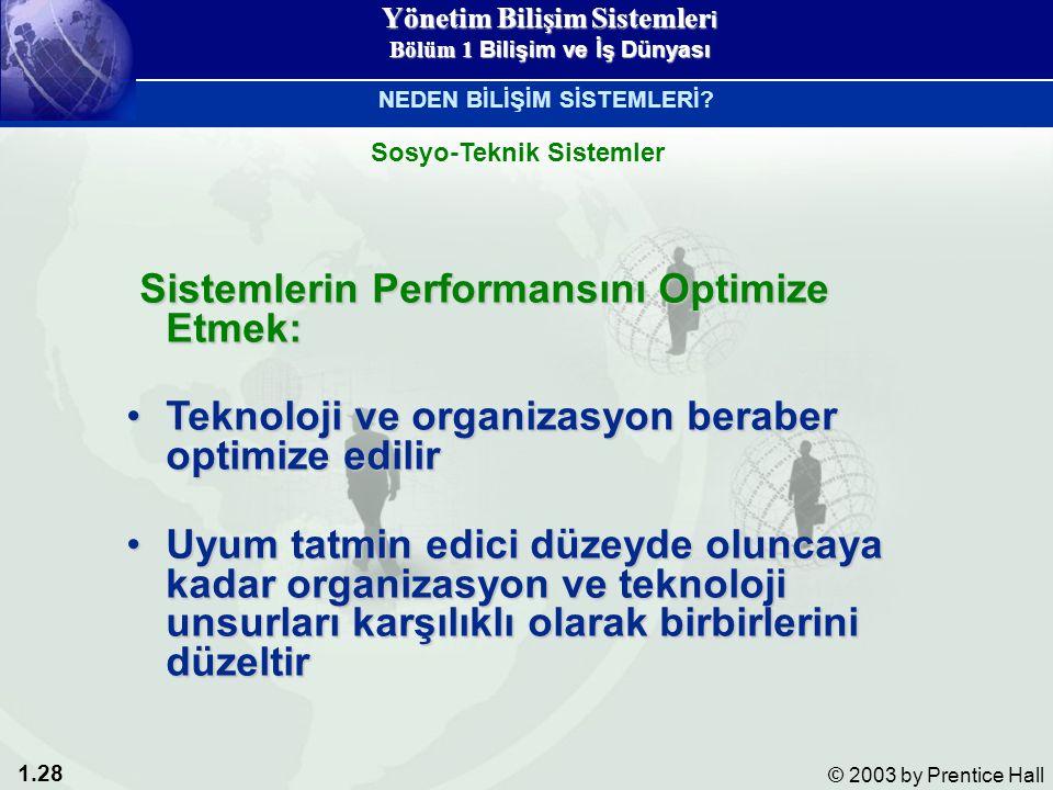 1.28 © 2003 by Prentice Hall Sistemlerin Performansını Optimize Etmek: Sistemlerin Performansını Optimize Etmek: Teknoloji ve organizasyon beraber optimize edilirTeknoloji ve organizasyon beraber optimize edilir Uyum tatmin edici düzeyde oluncaya kadar organizasyon ve teknoloji unsurları karşılıklı olarak birbirlerini düzeltirUyum tatmin edici düzeyde oluncaya kadar organizasyon ve teknoloji unsurları karşılıklı olarak birbirlerini düzeltir Sosyo-Teknik Sistemler NEDEN BİLİŞİM SİSTEMLERİ.