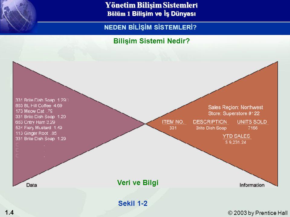 1.4 © 2003 by Prentice Hall Sekil 1-2 Veri ve Bilgi Bilişim Sistemi Nedir.