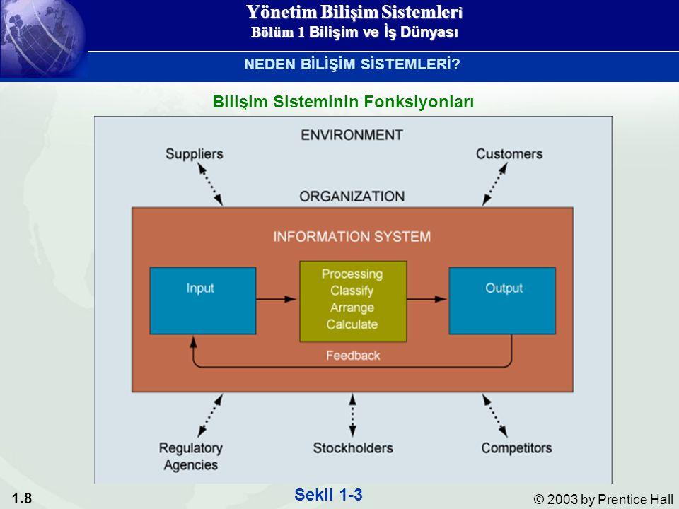 1.8 © 2003 by Prentice Hall Bilişim Sisteminin Fonksiyonları Sekil 1-3 NEDEN BİLİŞİM SİSTEMLERİ.