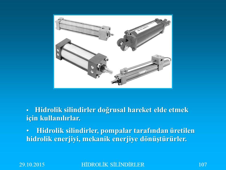 29.10.2015HİDROLİK SİLİNDİRLER107 Hidrolik silindirler doğrusal hareket elde etmek için kullanılırlar. Hidrolik silindirler doğrusal hareket elde etme