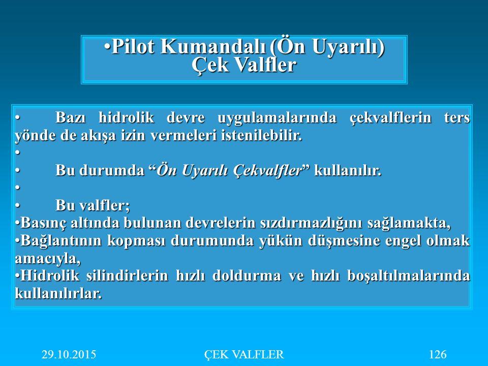 29.10.2015ÇEK VALFLER126 Pilot Kumandalı (Ön Uyarılı) Çek ValflerPilot Kumandalı (Ön Uyarılı) Çek Valfler Bazı hidrolik devre uygulamalarında çekvalfl