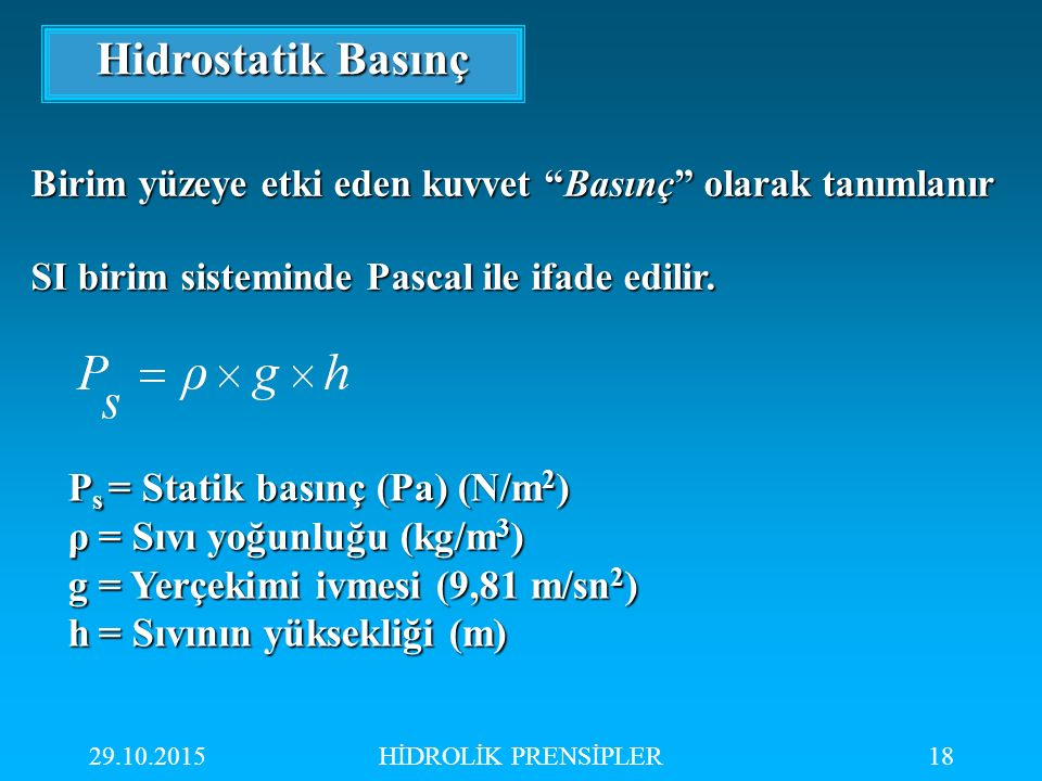 29.10.2015HİDROLİK PRENSİPLER18 Hidrostatik Basınç P s = Statik basınç (Pa) (N/m 2 ) ρ= Sıvı yoğunluğu (kg/m 3 ) g= Yerçekimi ivmesi (9,81 m/sn 2 ) h=