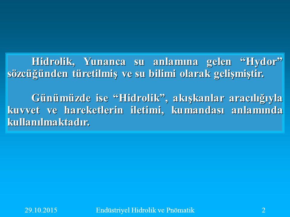 """29.10.2015Endüstriyel Hidrolik ve Pnömatik2 Hidrolik, Yunanca su anlamına gelen """"Hydor"""" sözcüğünden türetilmiş ve su bilimi olarak gelişmiştir. Günümü"""