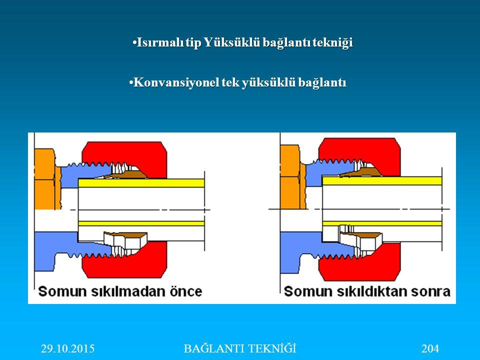 29.10.2015BAĞLANTI TEKNİĞİ204 Konvansiyonel tek yüksüklü bağlantıKonvansiyonel tek yüksüklü bağlantı Isırmalı tip Yüksüklü bağlantı tekniğiIsırmalı ti