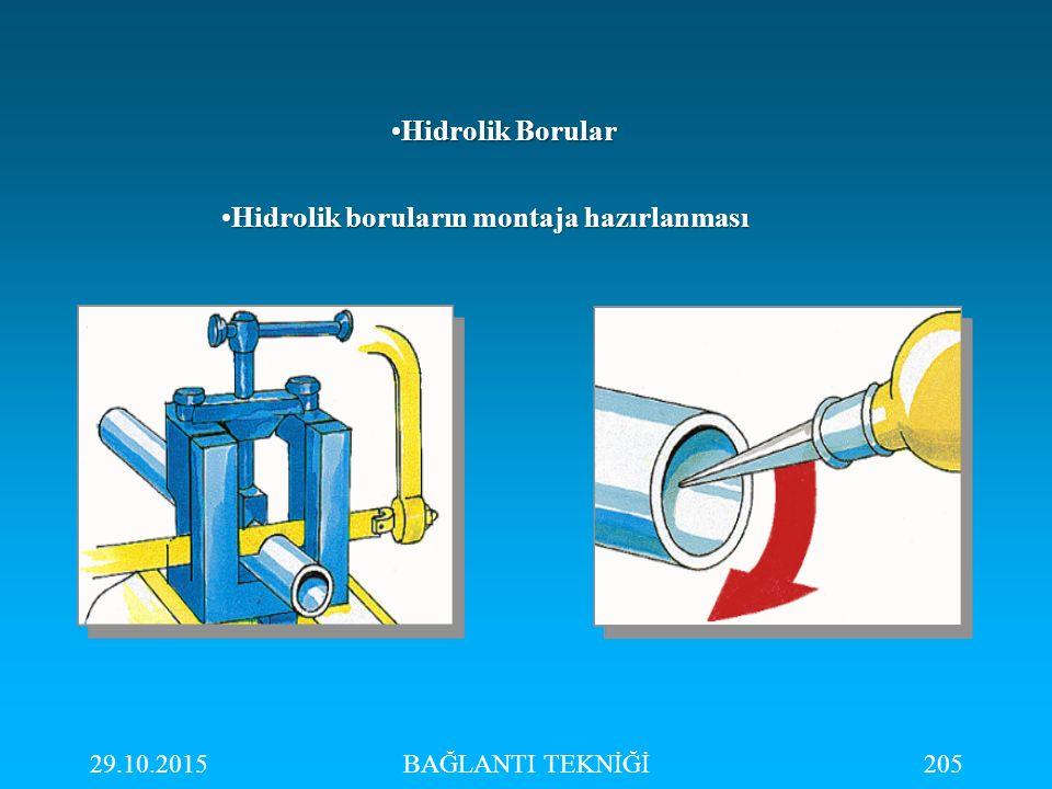 29.10.2015BAĞLANTI TEKNİĞİ205 Hidrolik BorularHidrolik Borular Hidrolik boruların montaja hazırlanmasıHidrolik boruların montaja hazırlanması