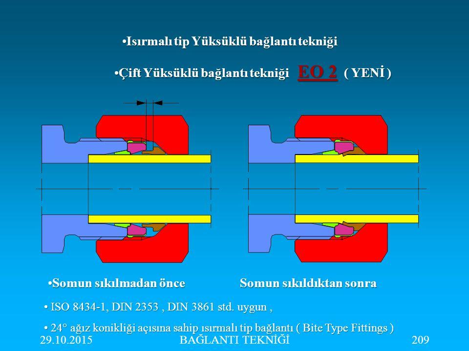 29.10.2015BAĞLANTI TEKNİĞİ209 Çift Yüksüklü bağlantı tekniği EO 2 ( YENİ )Çift Yüksüklü bağlantı tekniği EO 2 ( YENİ ) Somun sıkılmadan önce Somun sık