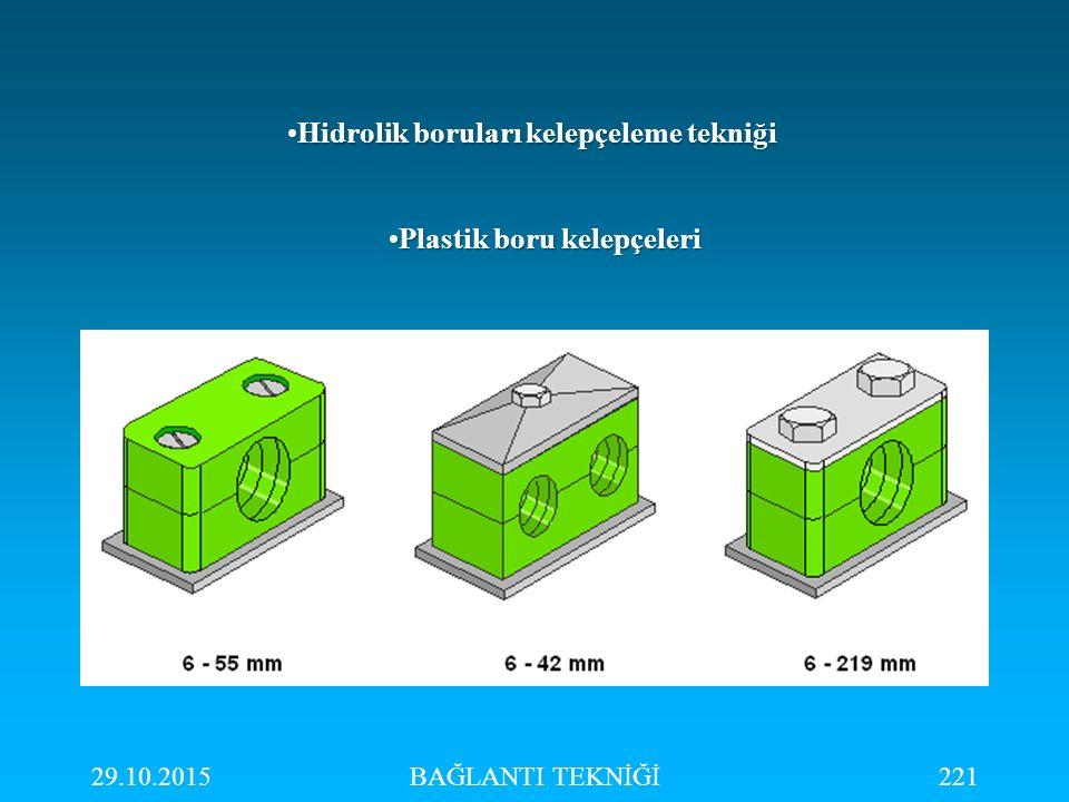 29.10.2015BAĞLANTI TEKNİĞİ221 Hidrolik boruları kelepçeleme tekniğiHidrolik boruları kelepçeleme tekniği Plastik boru kelepçeleriPlastik boru kelepçel