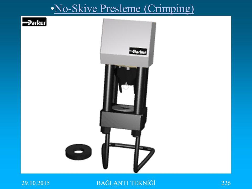 29.10.2015BAĞLANTI TEKNİĞİ226 No-Skive Presleme (Crimping)No-Skive Presleme (Crimping)No-Skive Presleme (Crimping)No-Skive Presleme (Crimping)