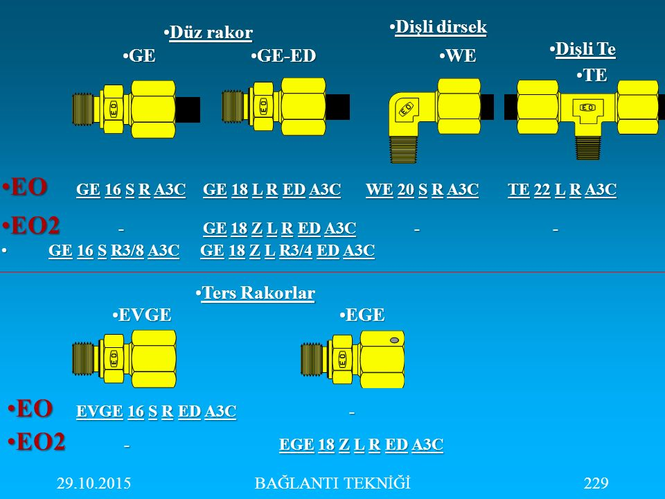 29.10.2015BAĞLANTI TEKNİĞİ229 EO GE 16 S R A3C GE 18 L R ED A3C WE 20 S R A3C TE 22 L R A3CEO GE 16 S R A3C GE 18 L R ED A3C WE 20 S R A3C TE 22 L R A
