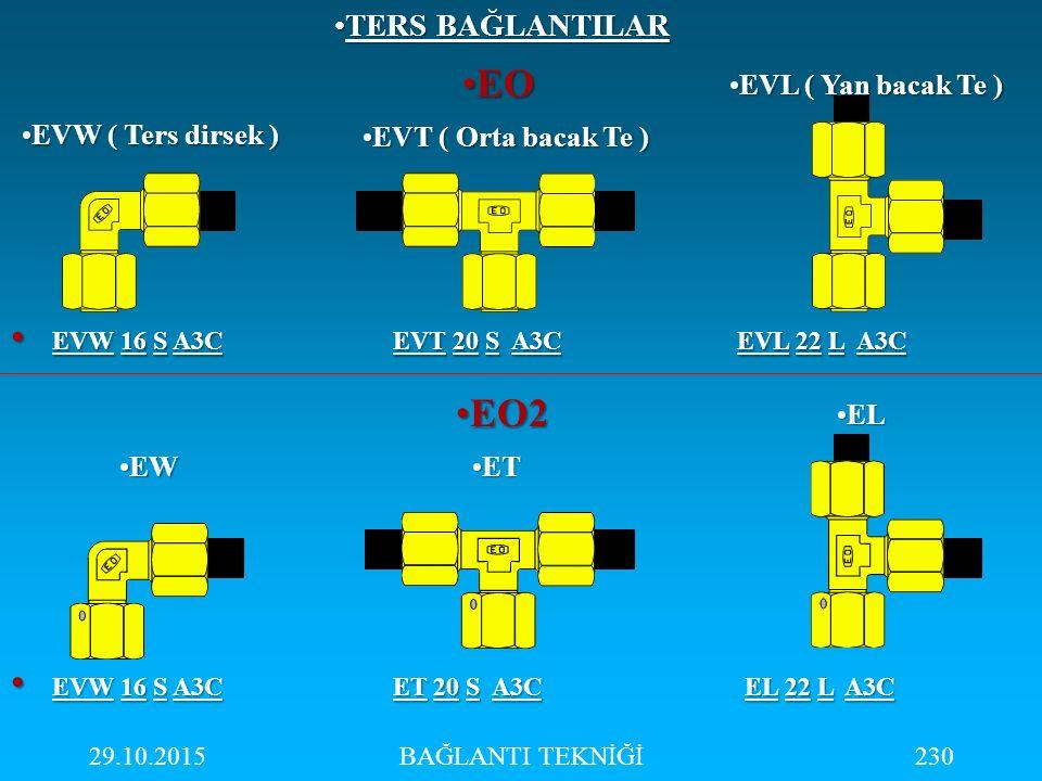 29.10.2015BAĞLANTI TEKNİĞİ230 EOEO EO2EO2 EVW 16 S A3C EVT 20 S A3C EVL 22 L A3C EVW 16 S A3C EVT 20 S A3C EVL 22 L A3C EVW ( Ters dirsek )EVW ( Ters