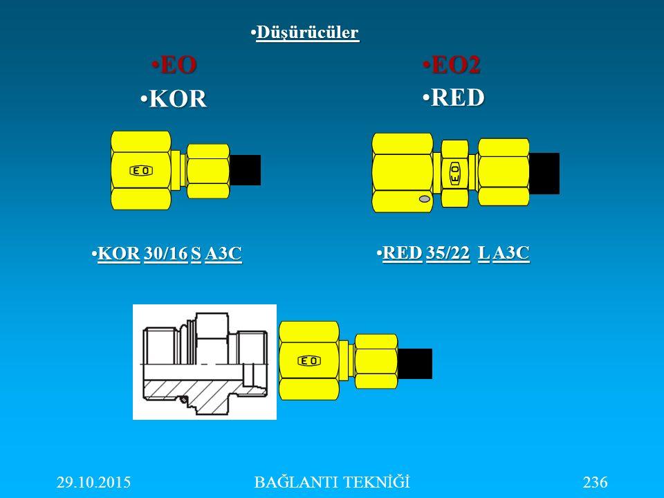 29.10.2015BAĞLANTI TEKNİĞİ236 REDRED KORKOR DüşürücülerDüşürücüler EOEO EO2EO2 KOR 30/16 S A3CKOR 30/16 S A3C RED 35/22 L A3CRED 35/22 L A3C
