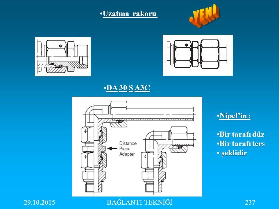29.10.2015BAĞLANTI TEKNİĞİ237 Uzatma rakoruUzatma rakoru DA 30 S A3CDA 30 S A3C Nipel'in :Nipel'in : Bir tarafı düzBir tarafı düz Bir tarafı tersBir t