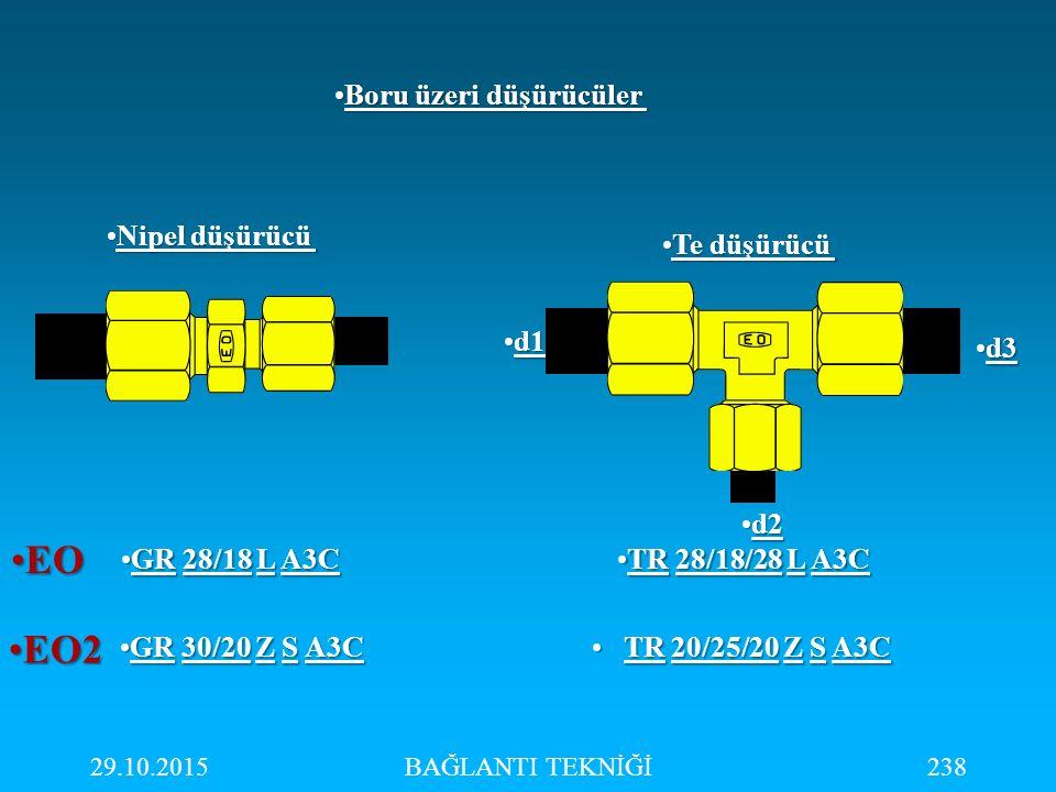 29.10.2015BAĞLANTI TEKNİĞİ238 Nipel düşürücüNipel düşürücü Te düşürücüTe düşürücü GR 28/18 L A3CGR 28/18 L A3C GR 30/20 Z S A3CGR 30/20 Z S A3C EOEO E