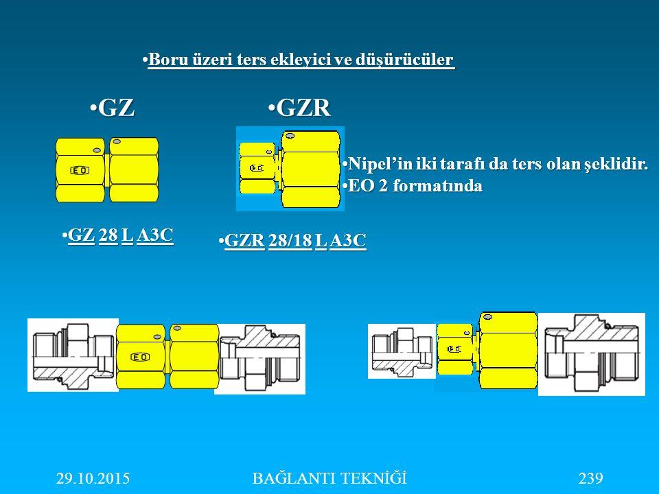 29.10.2015BAĞLANTI TEKNİĞİ239 Boru üzeri ters ekleyici ve düşürücülerBoru üzeri ters ekleyici ve düşürücüler GZGZ GZ 28 L A3CGZ 28 L A3C GZR 28/18 L A