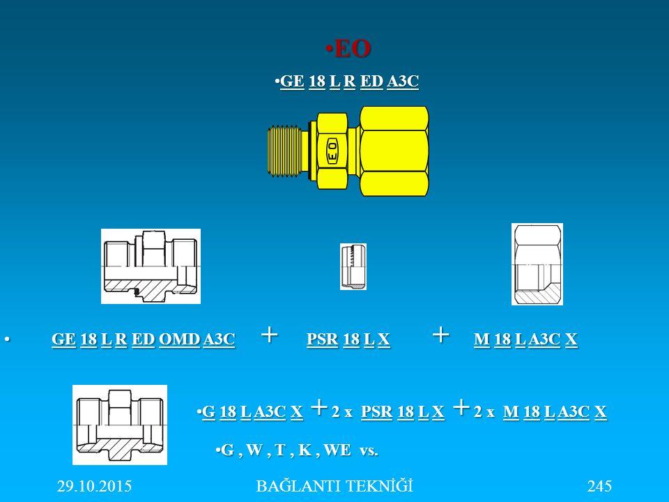 29.10.2015BAĞLANTI TEKNİĞİ245 GE 18 L R ED A3CGE 18 L R ED A3C GE 18 L R ED OMD A3C + PSR 18 L X + M 18 L A3C X GE 18 L R ED OMD A3C + PSR 18 L X + M