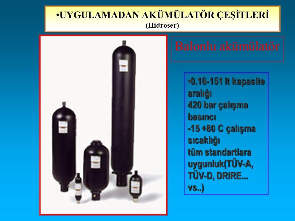 Balonlu akümülatör 0.16-151 lt kapasite aralığı 420 bar çalışma basıncı -15 +80 C çalışma sıcaklığı tüm standartlara uygunluk(TÜV-A, TÜV-D, DRIRE... v