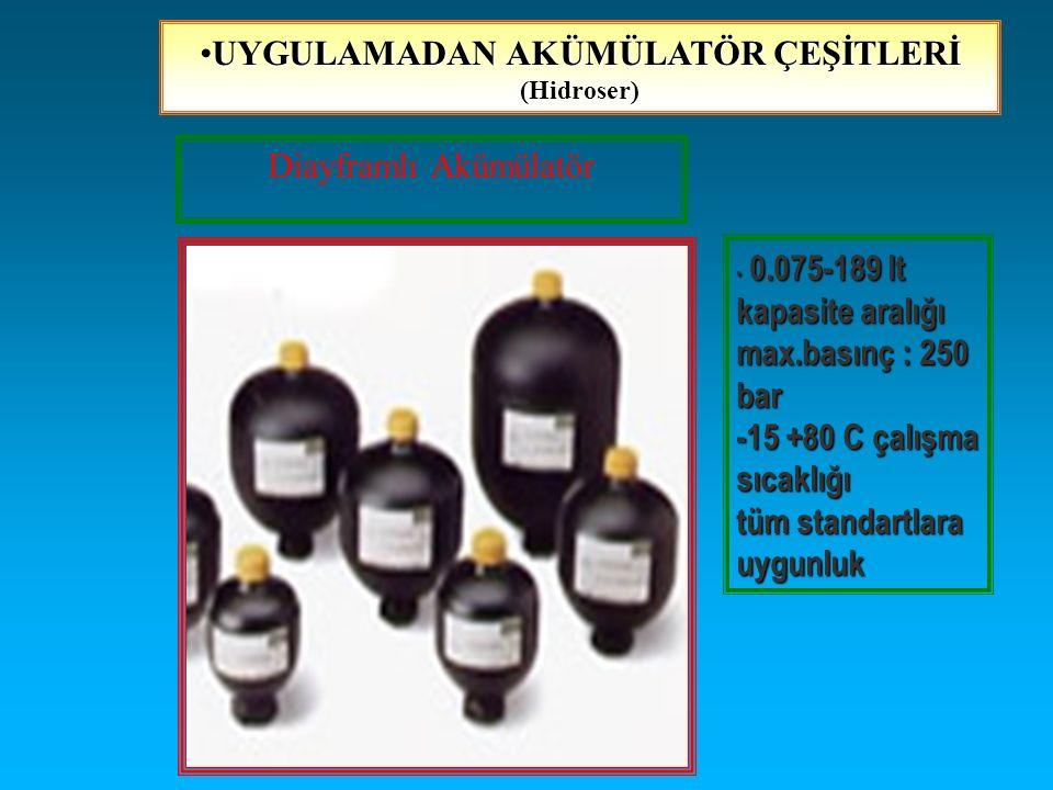 Diayframlı Akümülatör 0.075-189 lt kapasite aralığı max.basınç : 250 bar -15 +80 C çalışma sıcaklığı tüm standartlara uygunluk 0.075-189 lt kapasite a