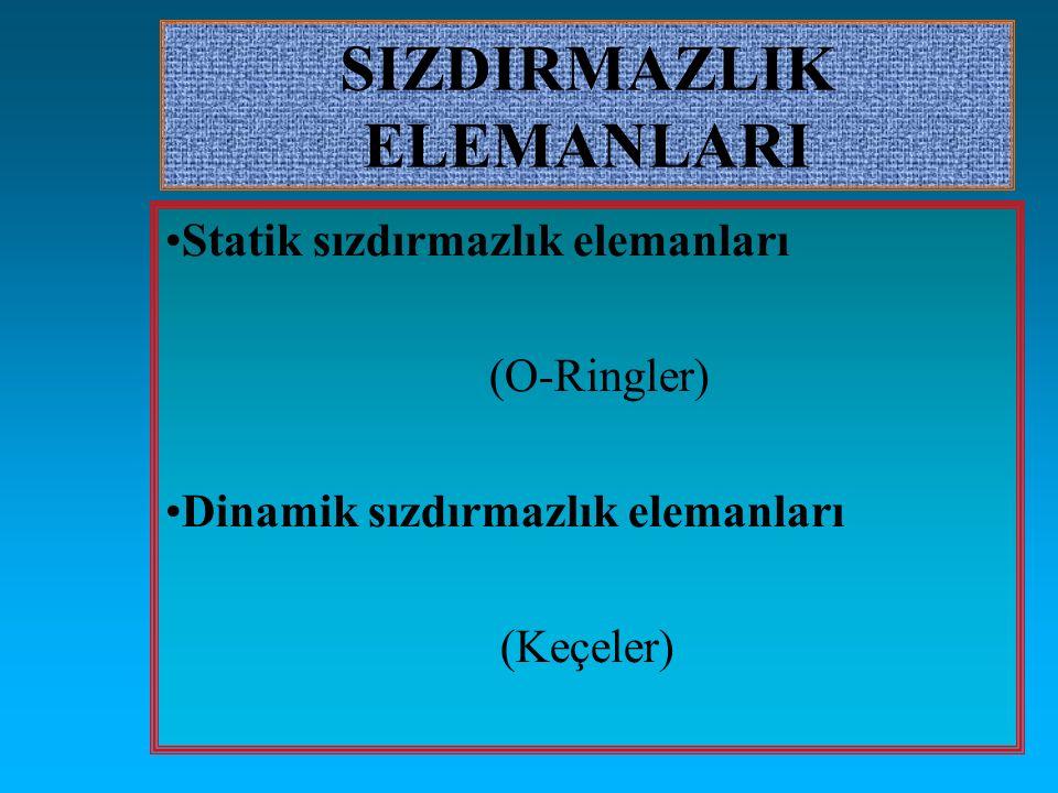 SIZDIRMAZLIK ELEMANLARI Statik sızdırmazlık elemanları (O-Ringler) Dinamik sızdırmazlık elemanları (Keçeler)