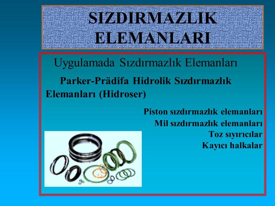 SIZDIRMAZLIK ELEMANLARI Uygulamada Sızdırmazlık Elemanları Parker-Prädifa Hidrolik Sızdırmazlık Elemanları (Hidroser) Piston sızdırmazlık elemanları M