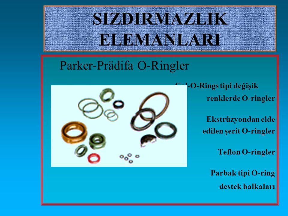 SIZDIRMAZLIK ELEMANLARI Parker-Prädifa O-Ringler Col-O-Rings tipi değişik renklerde O-ringler Ekstrüzyondan elde edilen şerit O-ringler Teflon O-ringl