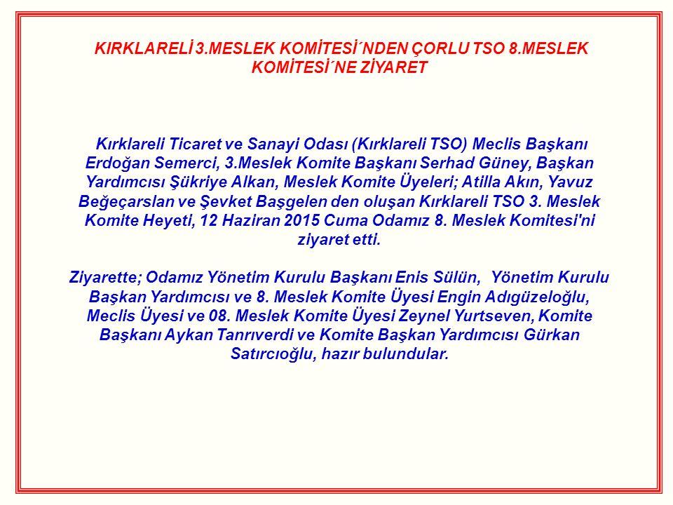 KIRKLARELİ 3.MESLEK KOMİTESİ´NDEN ÇORLU TSO 8.MESLEK KOMİTESİ´NE ZİYARET Kırklareli Ticaret ve Sanayi Odası (Kırklareli TSO) Meclis Başkanı Erdoğan Se