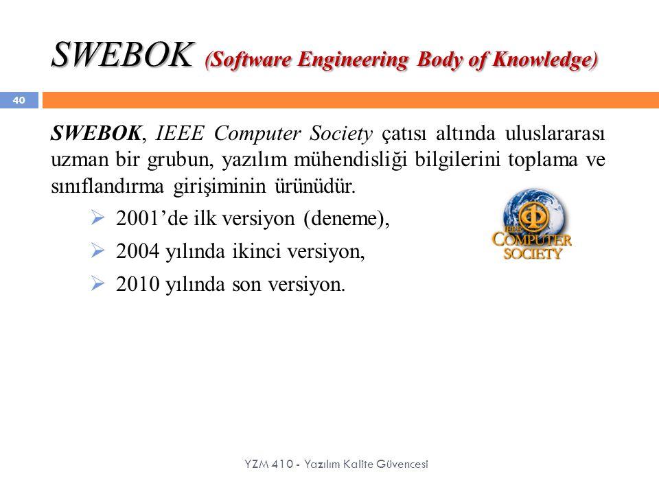 SWEBOK (Software Engineering Body of Knowledge) YZM 410 - Yazılım Kalite Güvencesi SWEBOK, IEEE Computer Society çatısı altında uluslararası uzman bir