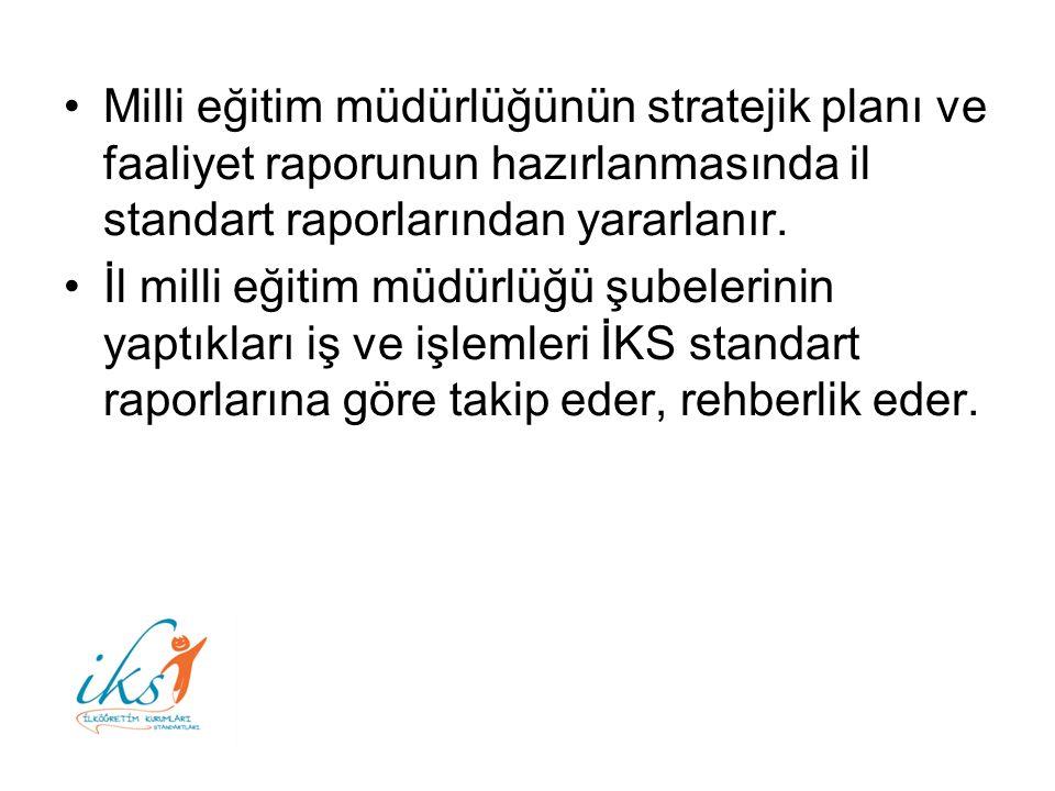 Milli eğitim müdürlüğünün stratejik planı ve faaliyet raporunun hazırlanmasında il standart raporlarından yararlanır.