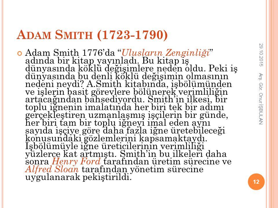 """A DAM S MITH (1723-1790) Adam Smith 1776'da """" Ulusların Zenginliği """" adında bir kitap yayınladı. Bu kitap iş dünyasında köklü değişimlere neden oldu."""