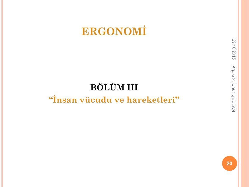 """ERGONOMİ BÖLÜM III """"İnsan vücudu ve hareketleri"""" 29.10.2015 20 Arş. Gör. Onur İŞBULAN"""