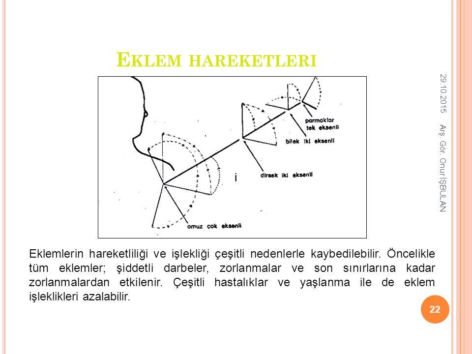 E KLEM HAREKETLERI ii Eklemlerin hareketliliği ve işlekliği çeşitli nedenlerle kaybedilebilir. Öncelikle tüm eklemler; şiddetli darbeler, zorlanmalar