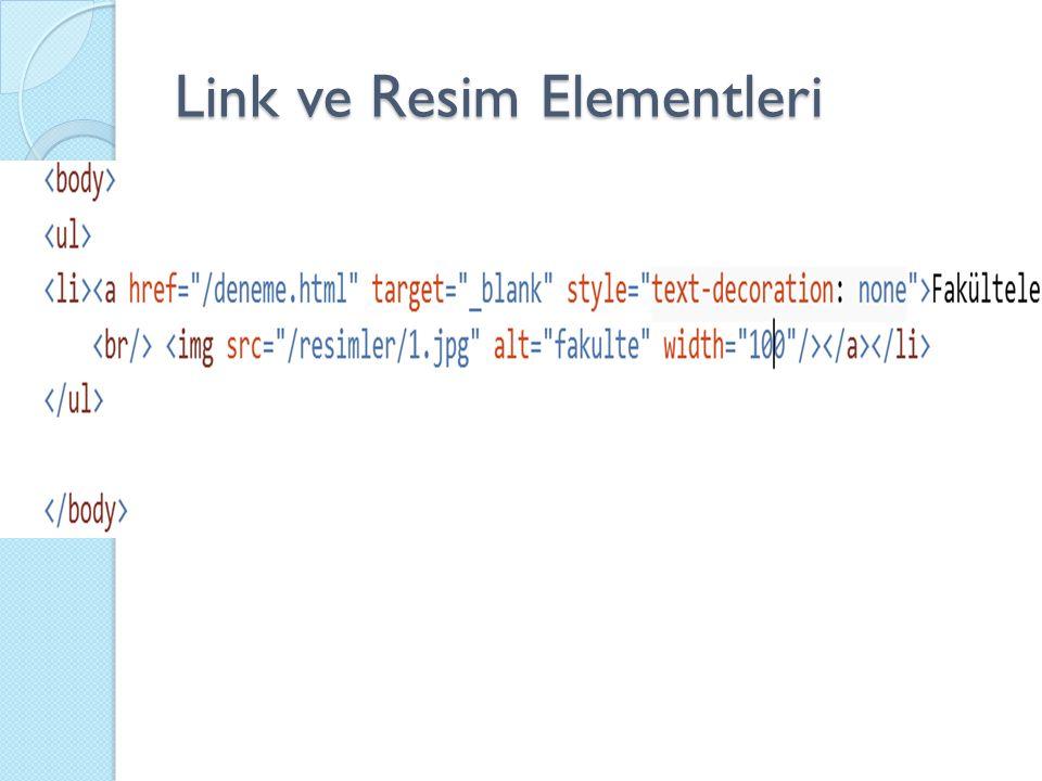Link ve Resim Elementleri