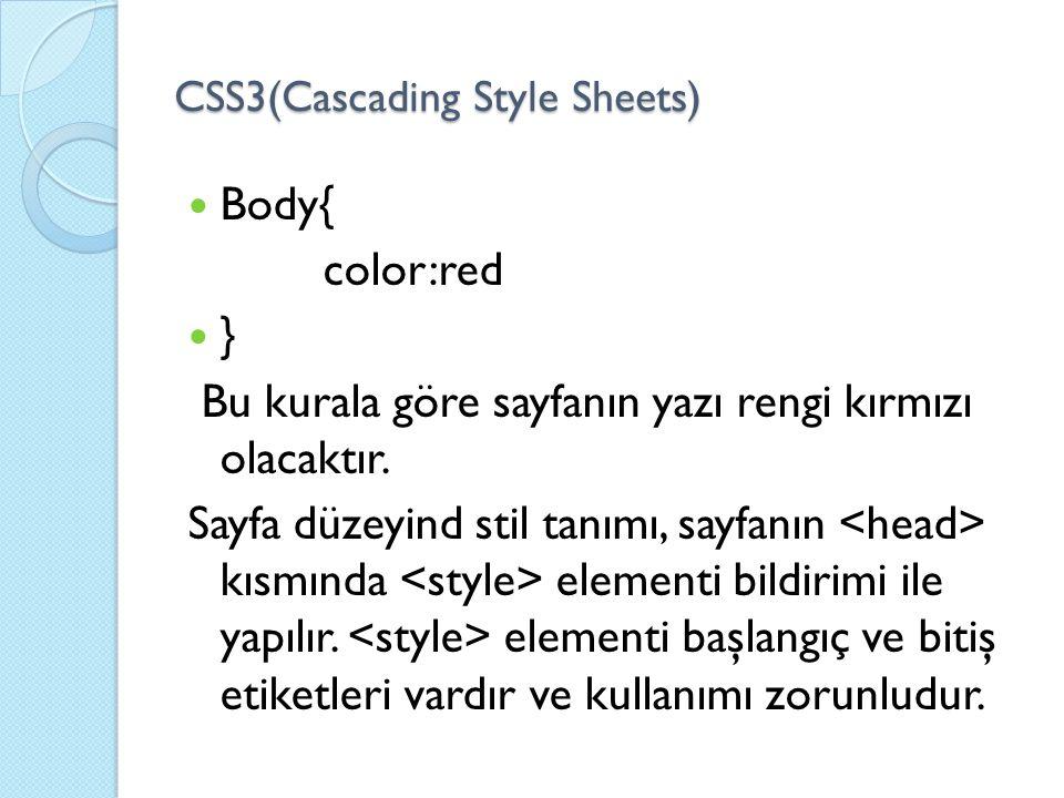 CSS3(Cascading Style Sheets) Body{ color:red } Bu kurala göre sayfanın yazı rengi kırmızı olacaktır. Sayfa düzeyind stil tanımı, sayfanın kısmında ele