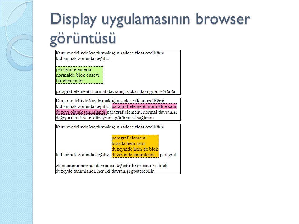 Display uygulamasının browser görüntüsü