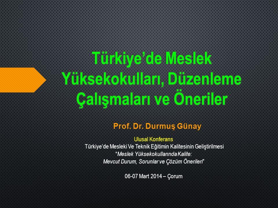 """Prof. Dr. Durmuş Günay Ulusal Konferans Türkiye'de Mesleki Ve Teknik Eğitimin Kalitesinin Geliştirilmesi """" Meslek Yüksekokullarında Kalite: Mevcut Dur"""