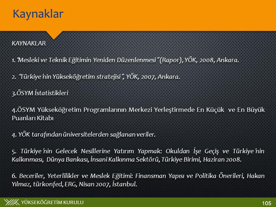 """YÜKSEKÖĞRETİM KURULU KAYNAKLAR 1.""""Mesleki ve Teknik Eğitimin Yeniden Düzenlenmesi"""" (Rapor), YÖK, 2008, Ankara. 2. """"Türkiye'nin Yükseköğretim stratejis"""