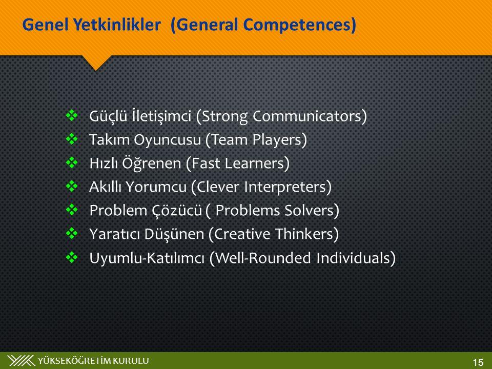 YÜKSEKÖĞRETİM KURULU  Güçlü İletişimci (Strong Communicators)  Takım Oyuncusu (Team Players)  Hızlı Öğrenen (Fast Learners)  Akıllı Yorumcu (Clever Interpreters)  Problem Çözücü ( Problems Solvers)  Yaratıcı Düşünen (Creative Thinkers)  Uyumlu-Katılımcı (Well-Rounded Individuals) ) Genel Yetkinlikler (General Competences) 15