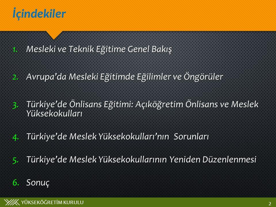YÜKSEKÖĞRETİM KURULU İçindekiler 2 1.Mesleki ve Teknik Eğitime Genel Bakış 2.Avrupa'da Mesleki Eğitimde Eğilimler ve Öngörüler 3.Türkiye'de Önlisans Eğitimi: Açıköğretim Önlisans ve Meslek Yüksekokulları 4.Türkiye'de Meslek Yüksekokulları'nın Sorunları 5.Türkiye'de Meslek Yüksekokullarının Yeniden Düzenlenmesi 6.Sonuç
